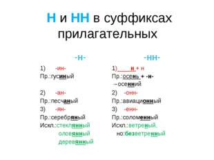 Н и НН в суффиксах прилагательных -н- -нн- 1) -ин-1)____н + н Пр.:гусиныйП