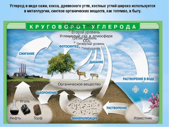 Углерод в виде сажи, кокса, древесного угля, костных углей широко используетс...
