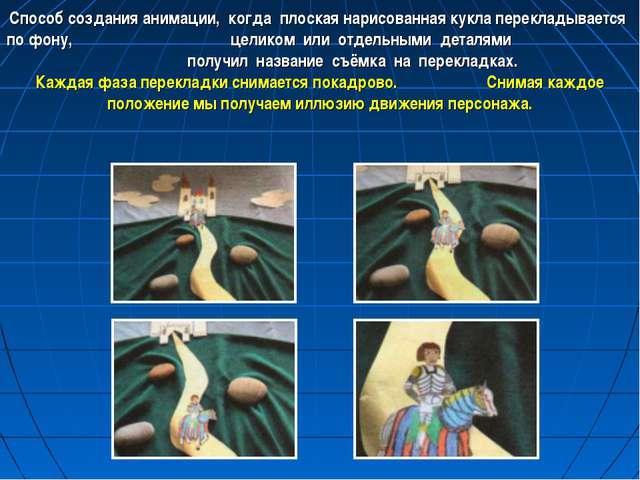 Способ создания анимации, когда плоская нарисованная кукла перекладывается по...