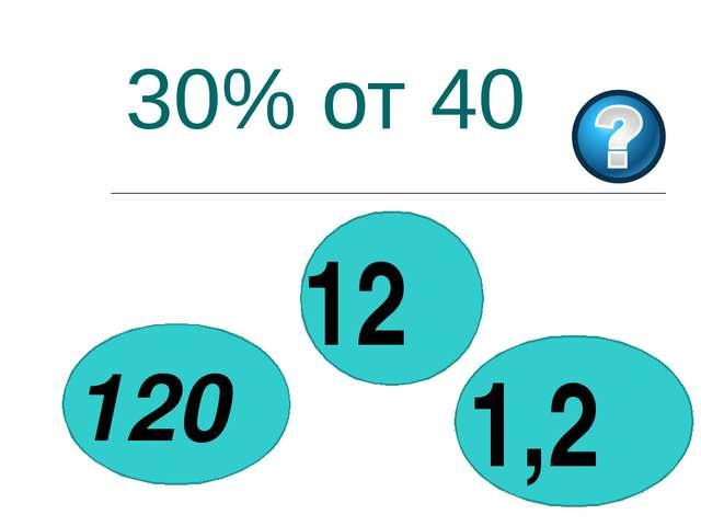 30% от 40 12 1,2 120