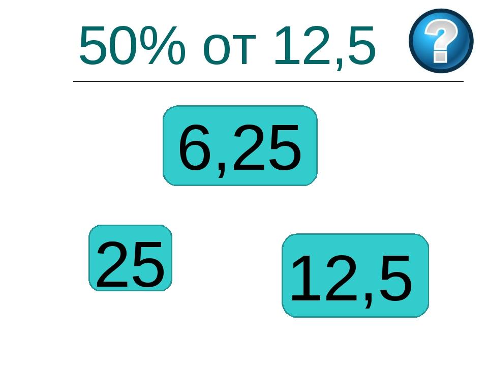 50% от 12,5 25 6,25 12,5