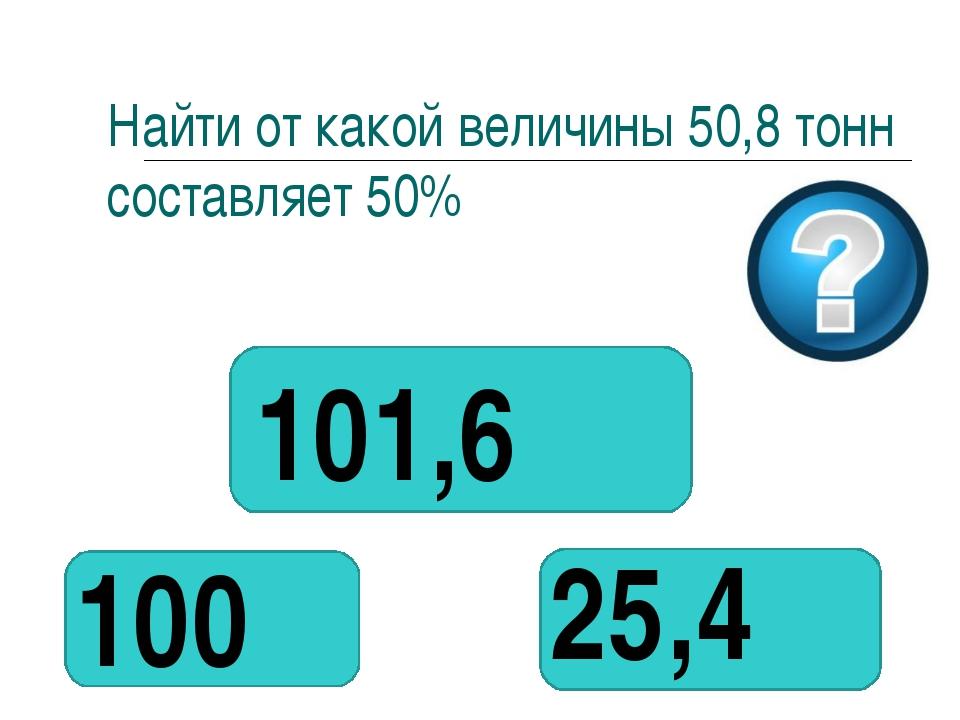Найти от какой величины 50,8 тонн составляет 50% 101,6 25,4 100