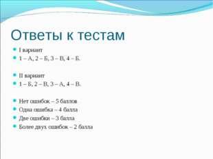 Ответы к тестам I вариант 1 – А, 2 – Б, 3 – В, 4 – Б. II вариант 1 – Б, 2 – В