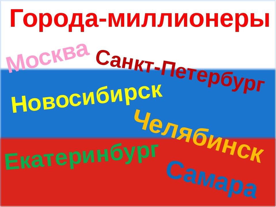 Города-миллионеры Москва Самара Челябинск Новосибирск Екатеринбург Санкт-Пет...