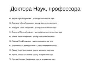 Доктора Наук, профессора 61 .Тетуев Борис Инзрелович - доктор филологических