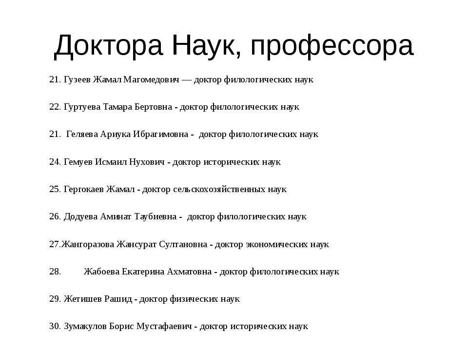 Доктора Наук, профессора 21. Гузеев Жамал Магомедович — доктор филологических...