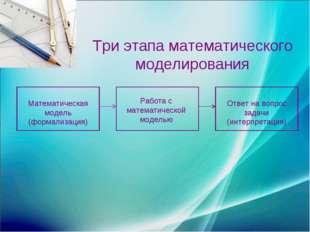Математическая модель (формализация) Работа с математической моделью Ответ на