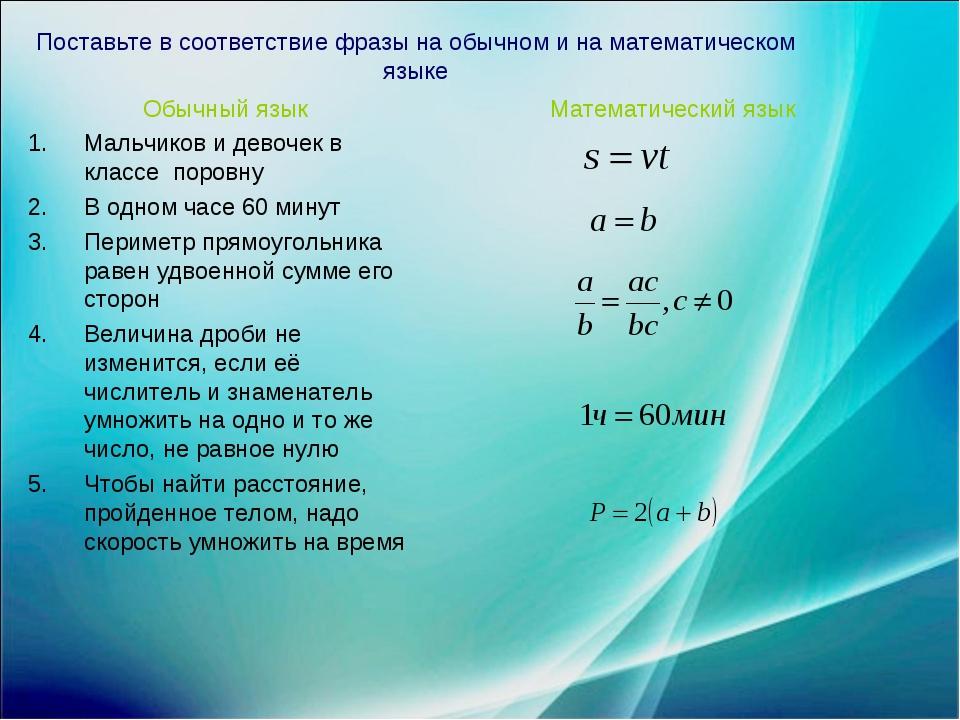 Поставьте в соответствие фразы на обычном и на математическом языке Обычный я...