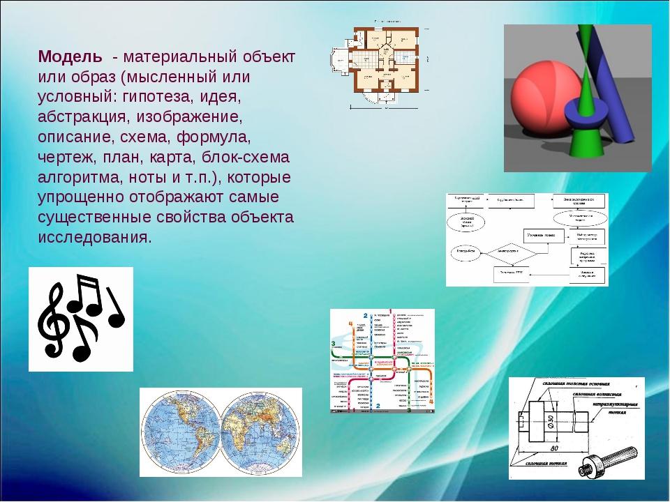 Модель - материальный объект или образ (мысленный или условный: гипотеза, иде...
