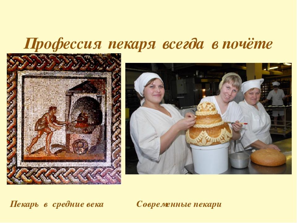 Пекарь в средние века Современные пекари Профессия пекаря всегда в почёте
