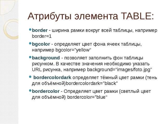 Атрибуты элемента TABLE: border - ширина рамки вокруг всей таблицы, например...
