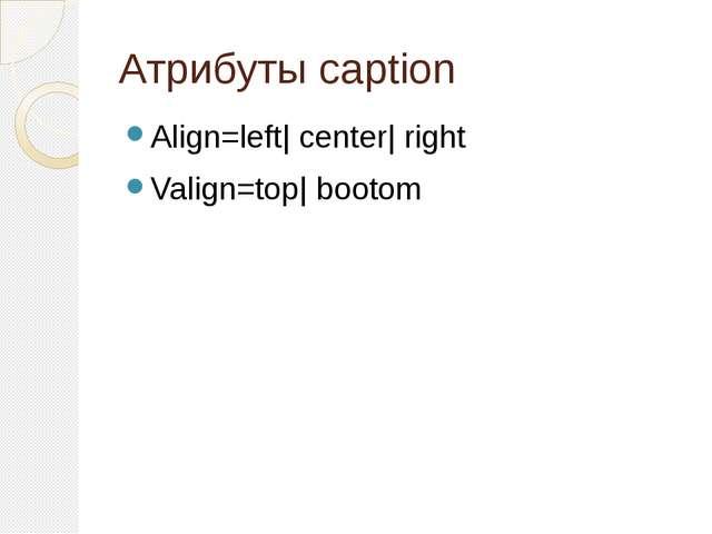 Атрибуты caption Align=left| center| right Valign=top| bootom