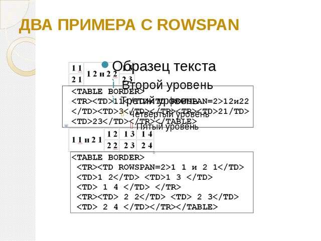 ДВА ПРИМЕРА С ROWSPAN