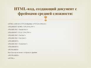 Фреймы           Ваш браузер не может отображать фреймы   HTML-код, создающий