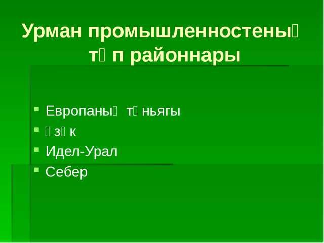 Урман промышленностеның төп районнары Европаның төньягы Үзәк Идел-Урал Себер