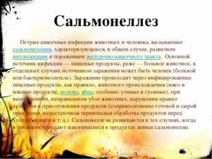 Сальмонеллез Острые кишечные инфекции животных и человека, вызываемыесальмон