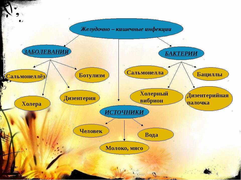 Желудочно – кишечные инфекции ЗАБОЛЕВАНИЯ Сальмонеллёз Холера Дизентерия Бот...