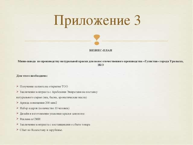 Приложение 3 БИЗНЕС-ПЛАН  Мини-завода по производству натуральной краски для...