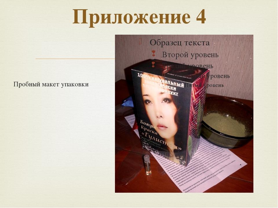 Приложение 4  Пробный макет упаковки 