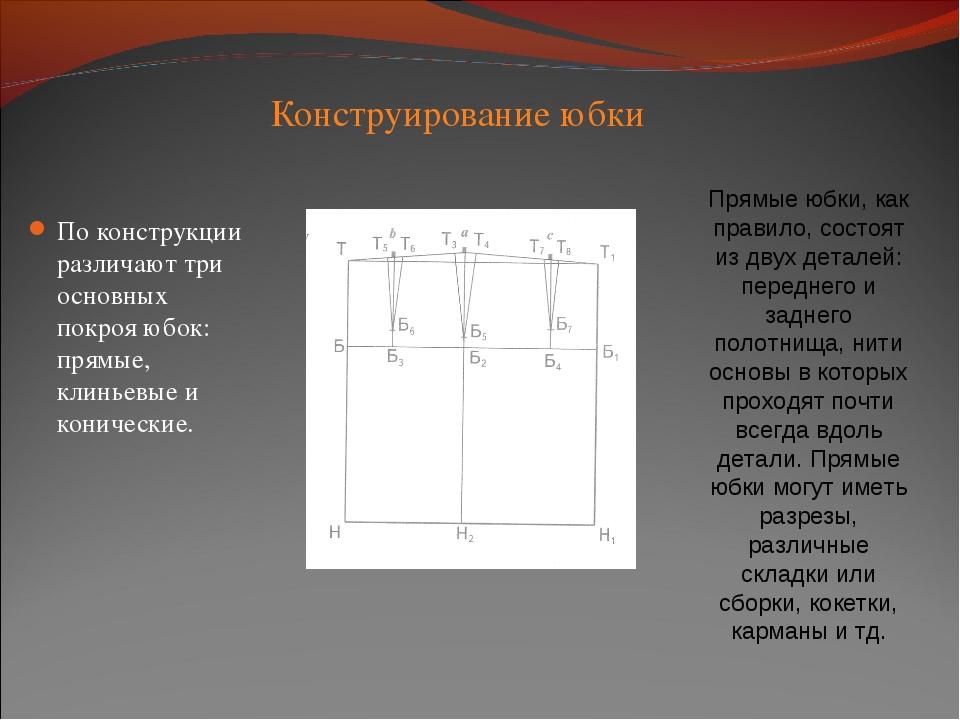 Конструирование юбки По конструкции различают три основных покроя юбок: прямы...