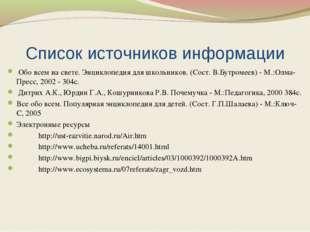 Список источников информации Обо всем на свете. Энциклопедия для школьников.