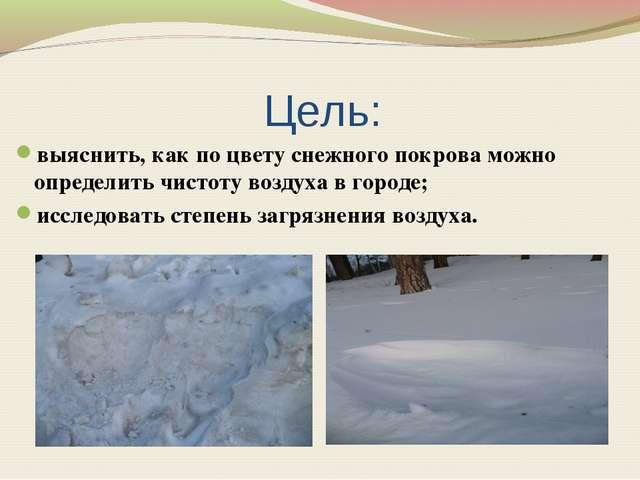 Цель: выяснить, как по цвету снежного покрова можно определить чистоту возду...