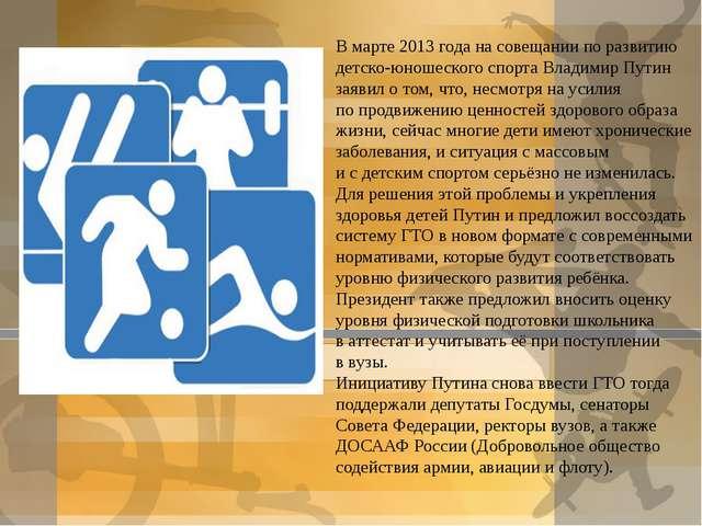 Вмарте 2013 года насовещании поразвитию детско-юношеского спорта Владимир...