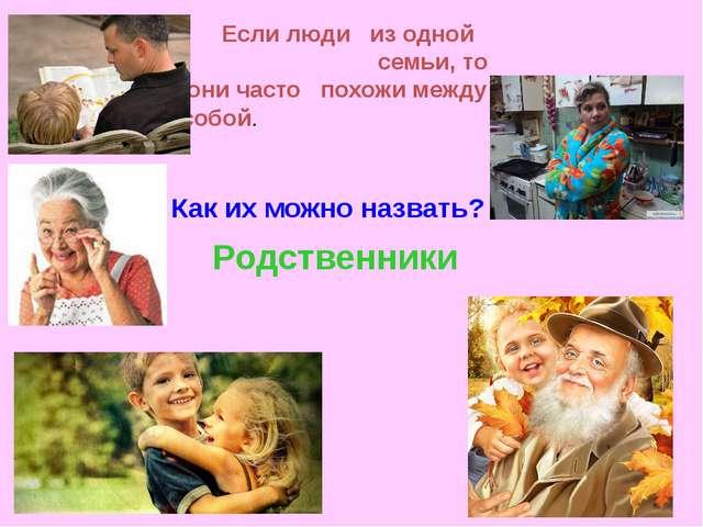 Родственники Если люди из одной семьи, то они часто похожи между собой. Как и...