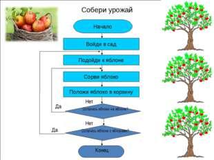 Собери урожай * Начало Войди в сад Подойди к яблоне Сорви яблоко Положи яблок