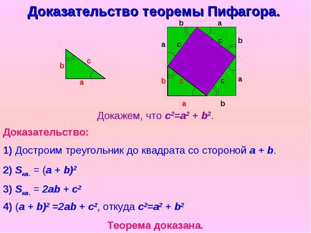 Докажем, что с2=a2 + b2. Доказательство теоремы Пифагора. Доказательство: 1)...