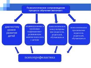Психологическое сопровождение процесса обучения включает: диагностику уровня