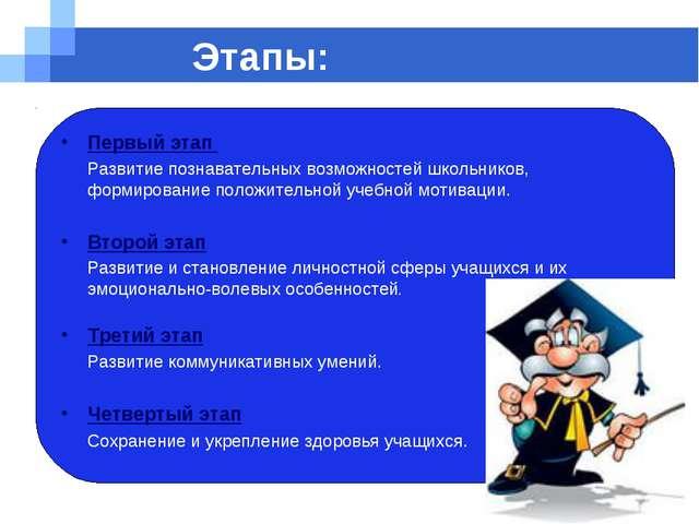 Company name Этапы: Первый этап Развитие познавательных возможностей школьни...