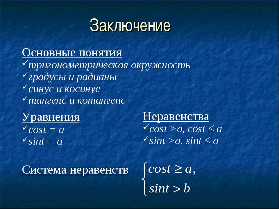 Заключение Основные понятия тригонометрическая окружность градусы и радианы с...