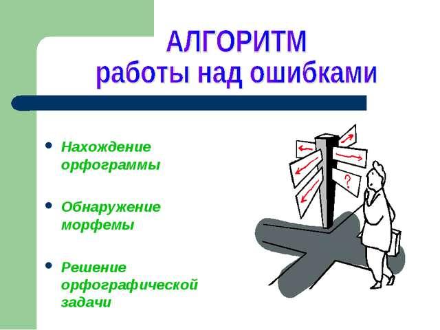 Нахождение орфограммы Обнаружение морфемы Решение орфографической задачи