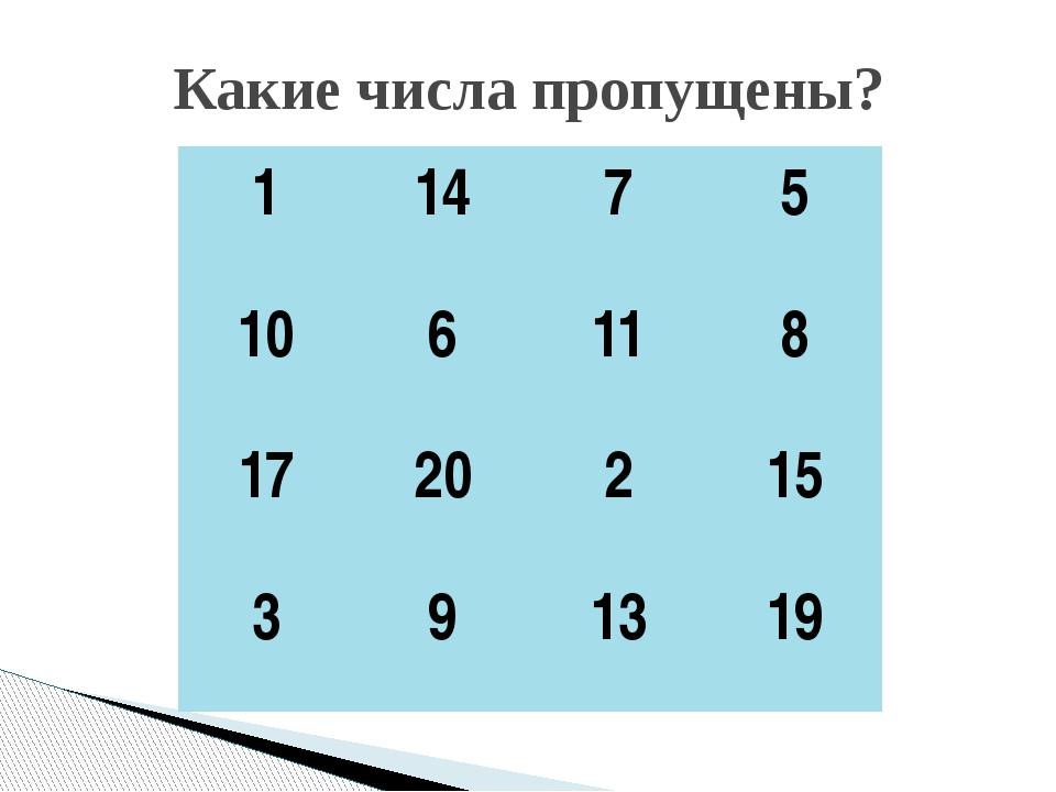 Какие числа пропущены? 1 14 7 5 10 6 11 8 17 20 2 15 3 9 13 19