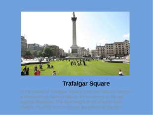 Trafalgar Square In the middle of Trafalgar Square rises the Nelson Column –