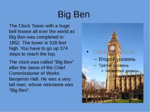 Big Ben The Clock Tower with a huge bell known all over the world as Big Ben