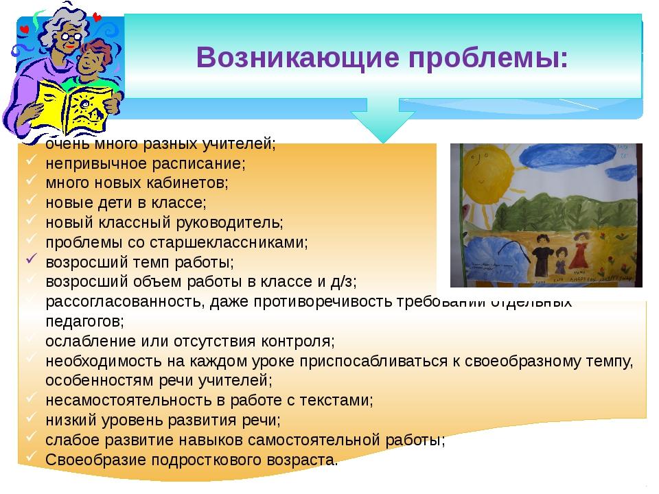 Возникающие проблемы: очень много разных учителей; непривычное расписание; м...