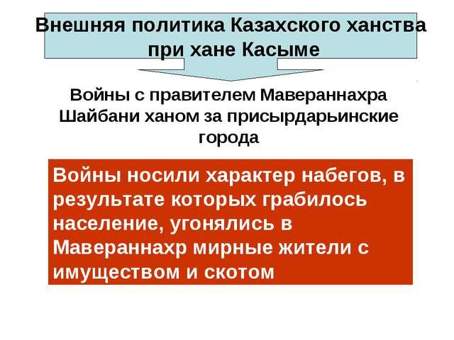 Внешняя политика Казахского ханства при хане Касыме Войны с правителем Мавера...