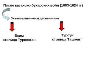 После казахско-бухарских войн (1603-1624 гг) Устанавливанется двоевластие Еси