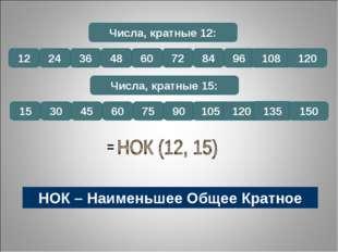 Числа, кратные 12: 12 24 36 48 60 72 84 96 108 120 Числа, кратные 15: 15 30 4