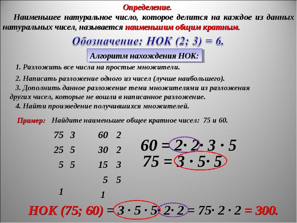 Алгоритм нахождения НОК: Пример: Найдите наименьшее общее кратное чисел: 75 и...
