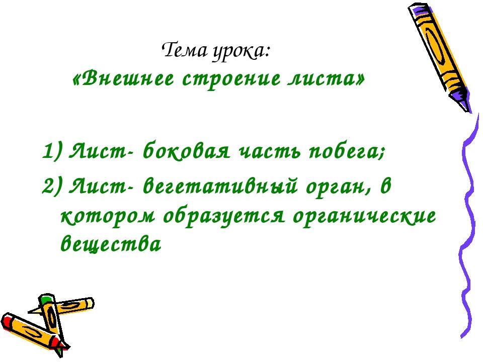 Тема урока: «Внешнее строение листа» 1) Лист- боковая часть побега; 2) Лист-...