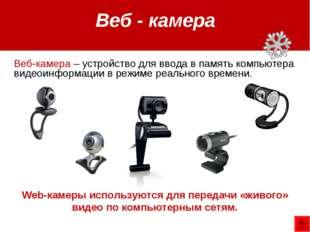 Web-камеры используются для передачи «живого» видео по компьютерным сетям. Ве