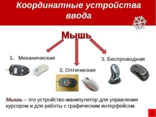 Координатные устройства ввода Механическая 2. Оптическая 3. Беспроводная Мышь