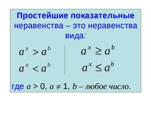 Простейшие показательные неравенства – это неравенства вида: где a > 0, a  1