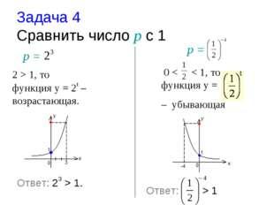 Задача 4 Cравнить число р с 1 р = 2 > 1, то функция у = 2t – возрастающая. 0