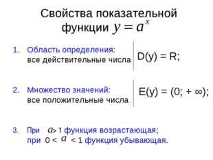 Свойства показательной функции Область определения: все действительные числа