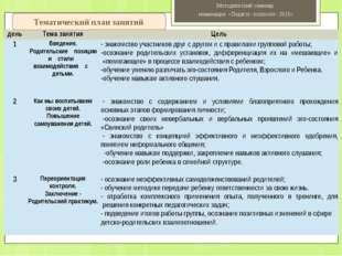 Тематический план занятий Методический семинар номинация «Педагог- психолог-