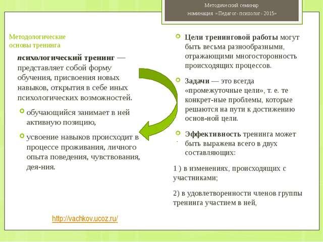 Методологические основы тренинга психологический тренинг —представляет собой...